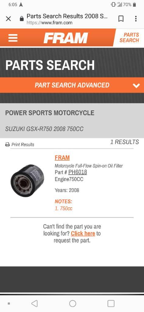 Wrong oil filter | Suzuki GSX-R Motorcycle Forums Gixxer com