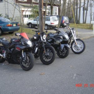 All the bikes after a wash. The Hayabusa and Harley on the end is my boyfriends. The GSXR600 was stolen May 26th 2010. And yes, I own a Harley too.