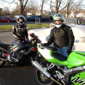 My friend and I ready to ride. Yeah, I know she's a Kawi owner. It's all good though.